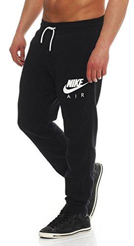 Nike AW77 FLC CUFF PT-AIR HTG-Pantaloni da uomo, UOMO, W77 Flc Cuff Pt-Air Htg, nero/bianco, S