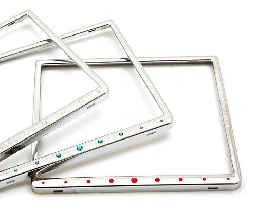 Preisvergleich Produktbild Motorrad Kennzeichenhalter für 180x200mm Crystalline Echt Chrom,  mit weißen Swarowski® Kristallen