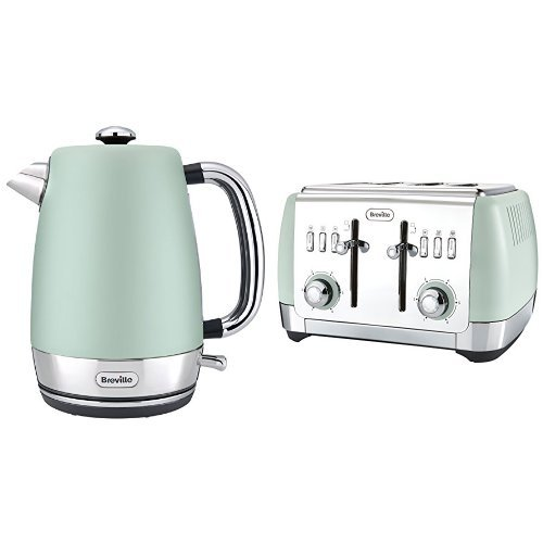 41GneXBwKsL. SS500  - Breville Strata Kettle, 1.7 L, Green and 4 Slice Toaster, Green Bundle