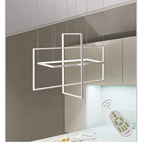 Araña de luces Lámpara de techo LED regulable altura lámpara de mesa de comedor cocina casa de campo lámpara de salón lámpara con mando a distancia rectangular diseño moderno pantalla de acrílico