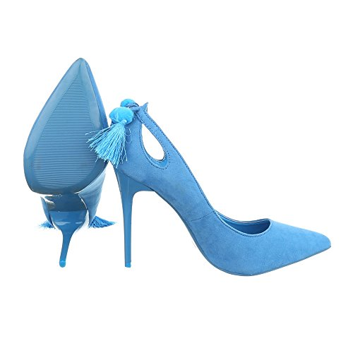 High Heel Damenschuhe Plateau Pfennig-/Stilettoabsatz High Heels Ital-Design Pumps Hellblau