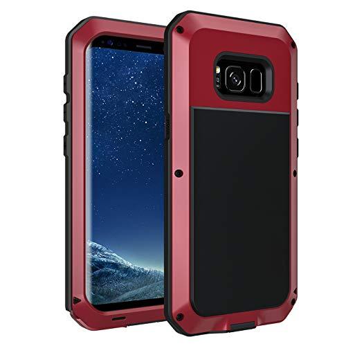 seacosmo Galaxy S8 Hülle, [Tough Armor] Aluminium Doppelte Schutz Stoßfest Schutzhülle für Samsung Galaxy S8, Rot