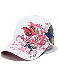 Hosaire 1x Sombreros del sol Bordado de la mariposa para Mujer gorras de Visera  UPF 50+ Protección UV Verano Playa Gorro Sombrero del… cca7daf55ac