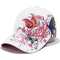 Gespout Gorras Sombreros Béisbol Paño Para Niñas Mujer Vaquero Protección Solar Viaje Hat Playa Verano Pescar Senderismo de Hermoso Flores Bordado 1pcs Blanco