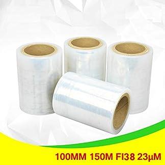 Net4Client 4 x Paquete Stretch Wrap Rolls Clear Cajas de Embalaje de Paquetes Wrap Cling Film String Rolls Paquete de Embalaje rápido y Resistente Película Transparente 100mm 150m Fi38 23µm
