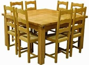 Table carrée chêne Sully +8 chaises