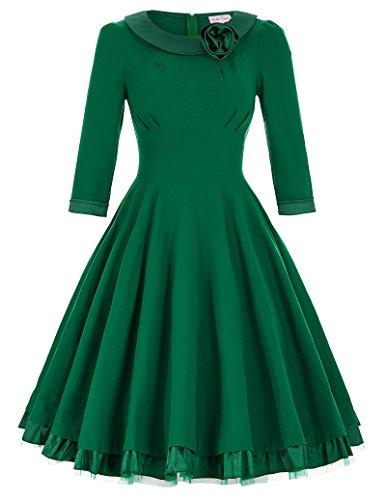 1950er Mode Geburtstag Partykleid A-Linie Cocktailkleid 3/4 Arm XL (Armee Kleider)