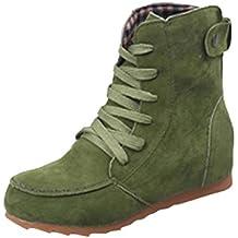 911be0f41fb Zapatos por ESAILQ Botas Planas de Nieve de Tobillo de Mujer Botas de  Cordones de Gamuza