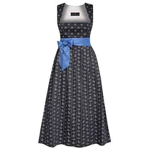 Schwangerschaftstrachten Thea in schwarz mit Ranken und blauer Schleife