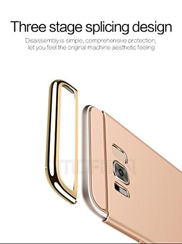 Samsung Galaxy S8 Hülle - Meimeiwu Elektroplattierter Kappen mit einer Matter Oberfläche 3-Teilige Styliche Extra Dünne Harte Schutzhülle Case für Samsung Galaxy S8 - Rot Gold