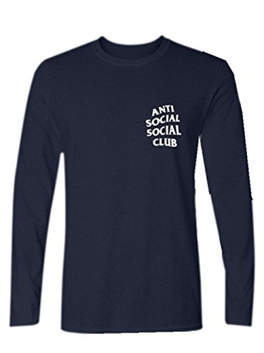 BOMOVO Herren ANTI SOCIAL CLUB Slim Fit Langarmshirt Western Shirt Blau