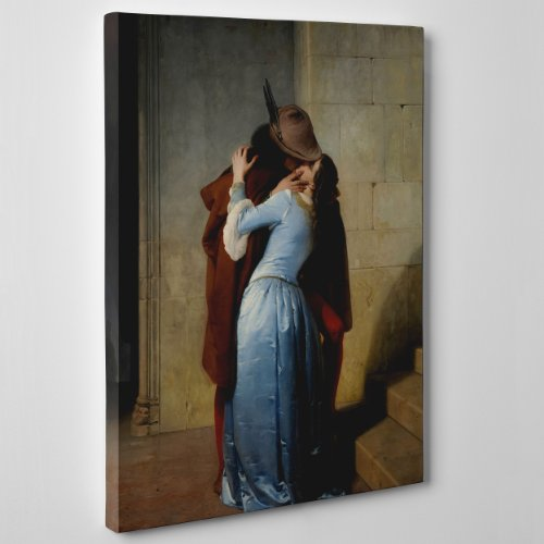 QUADRO SU TELA - INTELAIATO - PRONTO DA APPENDERE - ARTE - IL BACIO - THE KISS - Francesco Hayez - Pinacoteca di Brera - 50x70cm - Senza Cornice - (cod.116)