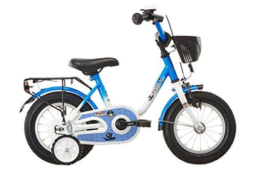 Vermont Kinder-Fahrrad Kapit&aumln 12 | 1-Gang Kinder-Rad, St&uumltzr&aumlder, Klingel und Fahrrad-Korb in Wei&szlig-Blau