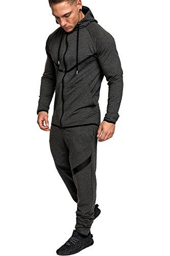Amaci&Sons Herren Kontrast Sportanzug Jogginganzug Trainingsanzug Sporthose+Hoodie 1020 Anthrazit L