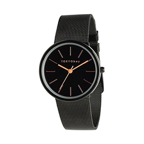 tokyobay-t2031-bk-frauen-edelstahl-armband-band-schwarzes-vorwahlknopf-runde-uhr