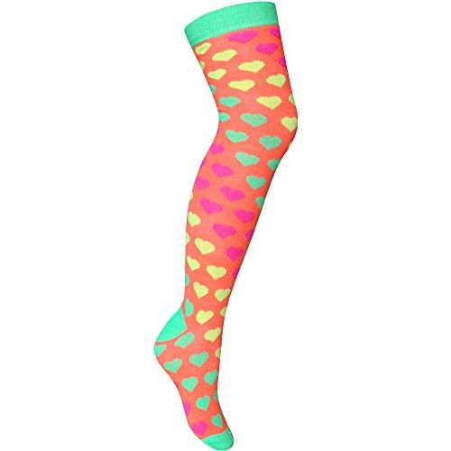 Damen Neon Fluoreszierend Herzen Muster Lang Länge über Knie Socken Gr. Einheitsgröße, Orange - Neon Orange (Welly Damen Fleece Sock)