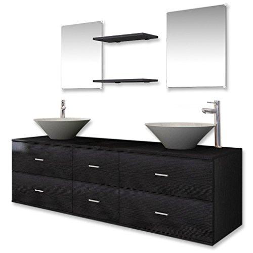 Festnight Set Muebles para Baño con Lavabo y Grifo 9 Piezas Negro