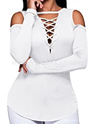 Camiseta de Manga Larga Camiseta de Cuello en V T-Shirt Camiseta de Mujer , Blanco , Sg