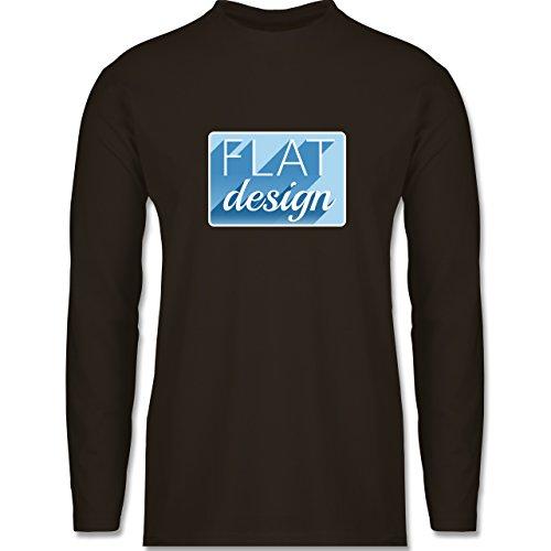 Shirtracer Nerds & Geeks - Flat Design - Herren Langarmshirt Braun