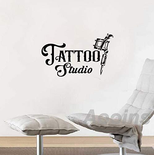 Qhrdp tattoo studio adesivo decor business logo registrati vinile art sticker decalcomanie macchine per tatuaggi adesivi per porte in vetro decorazione 56x35cm