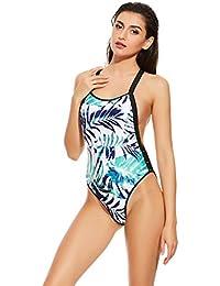 Alicemall Traje de Playa de una Pieza de Verde Claro para Mujer Bikini Estampado de Hoja Monokini con Relleno (XL)