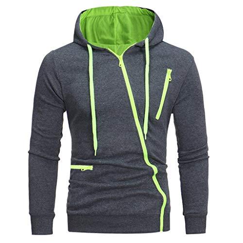 Zip Kapuzenjacke Herren für Kapuzenpullover für Herren, Holeider Zipper Hoodie Herren Langarm Kapuzen Sweatjacke mit Diagonaler Reißverschluss für Männer Casual Streetwear Sweatshirt -