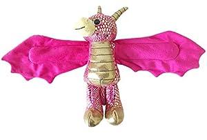 Wild Republic 21676 Huggers - Pulsera de Peluche de dragón Dorado, 20 cm, Color Rosa