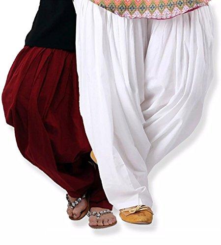 Kurti Studio Women Maroon White Premium Patiala Salwar Combo of 2