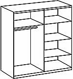 Wimex 785750 Kleiderschrank 4-türig 225 x 210 x 58 cm, zwei Spiegeltüren, Front und Korpus Eiche Sägerau Nachbildung, Absetzungen, alpinweiß -