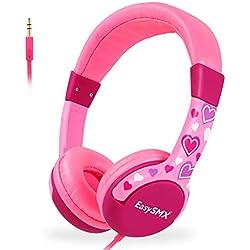 EasySMX Casque Audio Enfant avec Limiteur de Volume, Casque de Protection Oreilles Confortable pour Enfant 3-12 Ans (Rose&Coeur)