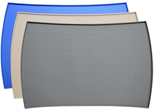 PetFusion Napfunterlage aus hochwertigem Silikon (Groß, Grau) - 61 x 41 x 1 CM