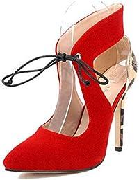 GLTER Mujeres Ankle Strap Bombas Nueva Leopard patrón de caballos rojo Suede Señalados de tacón alto zapatos salvajes Sandals Corte zapatos , red , 35