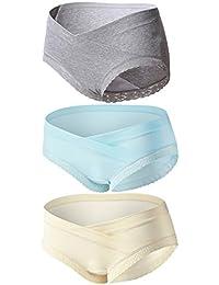 Topwhere Bragas Confortable para Mujer Embarazada De Algodón De Cintura Bajo 3Pack
