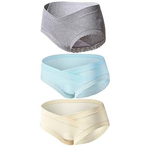 Topwhere 3 PCS Culottes En Coton Maternité Taille Basse Sous-Vêtements (L, Grey+Blue+Champagne/3Pack)