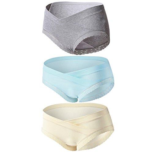 Topwhere Chwangerschafts-Unterwäsche Damen Umstandsmode Slip Unterwäsche - Baumwolle - Spitze 3 Packs (L/DE 36-38, Grey+Blue+Champagne/3Pack)