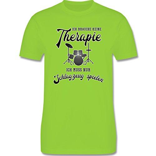 Instrumente - Ich brauche keine Therapie ich muss nur Schlagzeug spielen - Herren Premium T-Shirt Hellgrün
