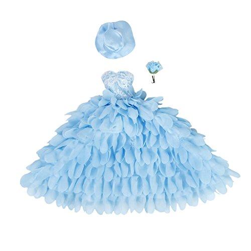 Kostüm Vintage Barbie Puppe (Bridal Hochzeit Kleid Lace Floral Kleid mit Hut und Blume für Puppen)