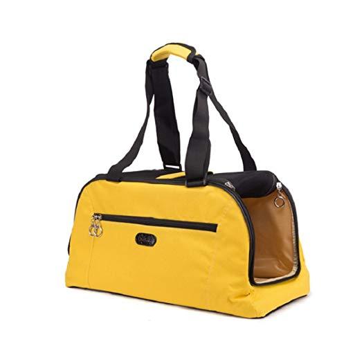 Bag-Haigeen Haustier Hund Tragetasche Katze Welpe Tragbare Reisetasche Tragetasche Handtasche Kisten Zwinger Gepäck Yellow 48X25x22cm (Hundetragetasche Designer Handtasche)