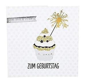 Depesche 8211.021Tarjeta de felicitación Glamour con Ornamento y Purpurina, cumpleaños