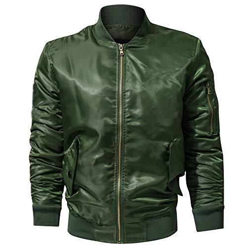 Lazzboy Uomo Giacca Casual Tinta Unita Collo Colletto Manica Lunga Tasca con Cerniera Tuta Moto Oversize Cappotto Militare Abbigliamento(4XL,Army Green)