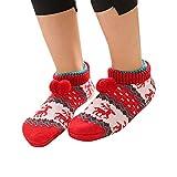 UJUNAOR Erwachsene Fußbodensocken für Weihnachten - Rutschfeste Dicke Niedrige Socken Teppichsocken(A,One Size)