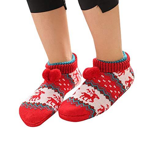 Fenverk 1 Paare Erwachsene Kinder WäRmer Socke Gestrickt Muster Slipper Socken Thermal Schlafen Sie Weich GemüTlich Oben Bett Zuhause Booties Winter Warm GebüRstet Haus Schuh(B 1,Kinder)