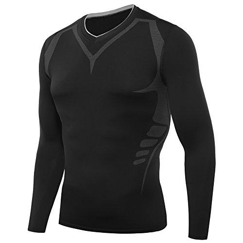 AMZSPORT Herren Kompressions-Shirt langärmlig Funktionsshirts Baselayer Langarm Schwarz XXL