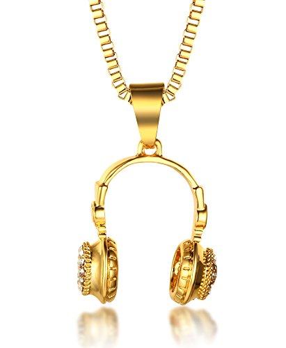 Für Kostüm Männliche 50 - Halukakah ● Kleine DJ ● Männlich in 18 Karat Vergoldetete Kopfhörer Anhänger Halskette Set mit Kostenloser 30