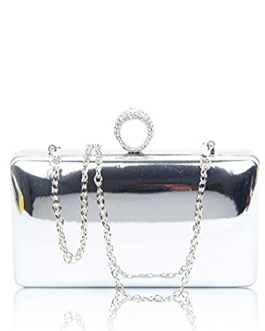 Women's Evening Clutch Bag / Wedding Shiny Leather Cover Hardcase With Sparkling Diamante Crystals Encrusted Clasp Dimensions 18x10x5.5cm