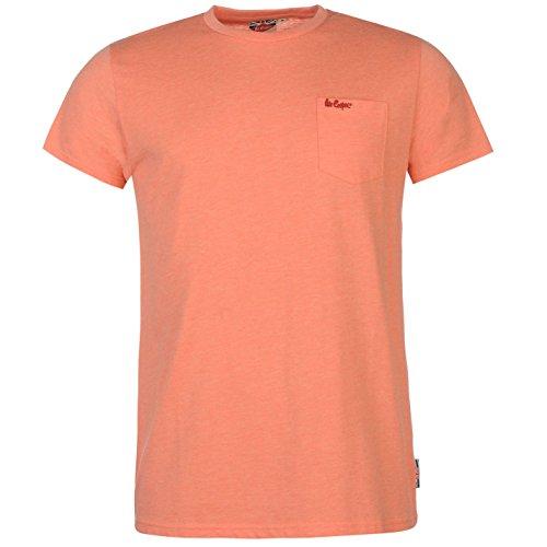 Lee Cooper Essential Herren T Shirt Rundhals Kurzarm Brusttasche Bestickt Logo Orange Meliert