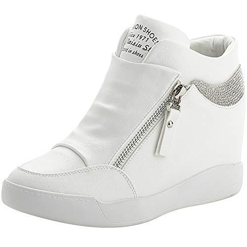 rismart Donna Zeppa Piattaforma Bootie Elegante Sneaker Scarpe SN15018(Bianco,35 EU)