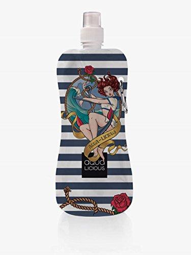 AQUA-LICIOUS Faltbare Trinkflasche mit Karabiner, wiederverwendbar mit tollen Motiven (Tattoo)