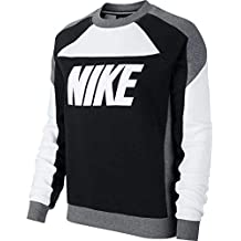 Nike W NSW Crew FLC CB Sweatshirt, Mujer, White/Black/Carbon Heather