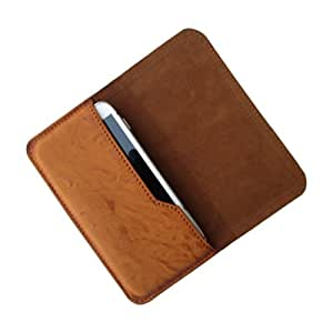 i-KitPit : PU Leather Flip Pouch Case Cover For Intex Aqua i6 (TAN BROWN)